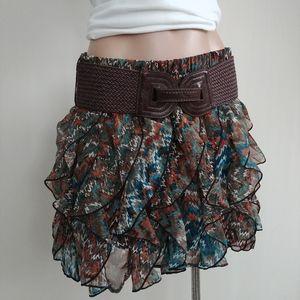 Wet Seal Missoni Ruffle Print Skirt